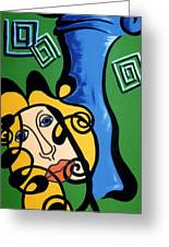 Picasso Influence With A Greek Twist Greeting Card