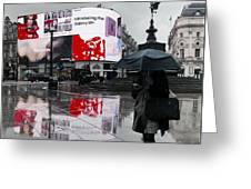 Piccadilly In The Rain Greeting Card