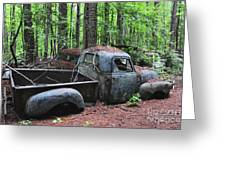 Pick Up Truck In The Woods Greeting Card