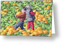 Picking Pumpkins Greeting Card