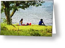 Picnic And Fishing Greeting Card