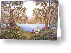 Picnic By A Lake Greeting Card