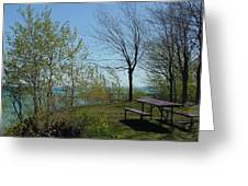 Picnic Table By The Lake Photo Greeting Card
