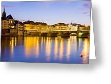 Picturesque Basel At Night Greeting Card
