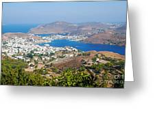 Picturesque View Of Skala Greece On Patmos Island Greeting Card