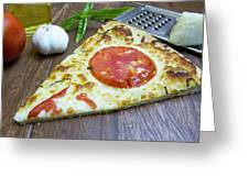 Piece Of Margarita Pizza With Fresh Ingredients Greeting Card