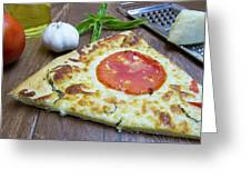 Piece Of Margarita Pizza With Ingredients Greeting Card