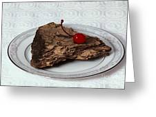 Piece Of Pine Cake With Cherry. Greeting Card