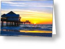 Pier  At Sunset Clearwater Beach Florida Greeting Card by George Oze