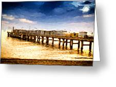 Pier At Sunset Oil Painting Photograph Greeting Card