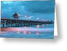 Pier In Blue Panorama Greeting Card