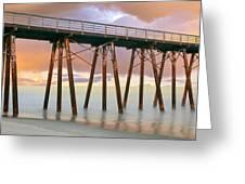 Pier On Beach During Sunrise, Playas De Greeting Card