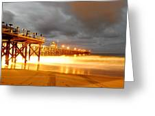 Pier On Fire Greeting Card