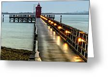 Pier With Lighthouse Greeting Card
