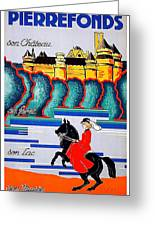 Pierrefonds Castle, Woman On Horse, France Greeting Card