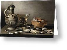 Pieter Claesz - Still Life With A Stoneware Jug, Berkemeyer, And Smoking Utensils 1640 Greeting Card
