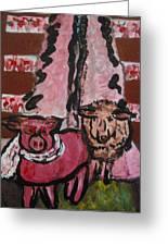 Pig And Sheep Greeting Card