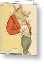 Pig In Chair Antique Image Reproduction Greeting Card