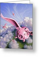 Pigs Away Greeting Card