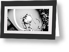 Pigtails Girl Metal Monochrome  Greeting Card