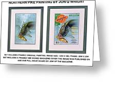 Pike And Perch Greeting Card by Jon Q Wright