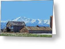 Pikes Peak And Old Barn Spring Snow Greeting Card