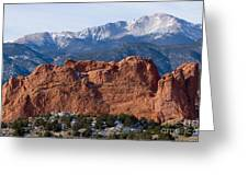 Pikes Peak Over The Garden Greeting Card