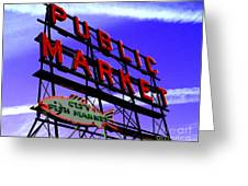 Pike's Place Market Greeting Card by Nick Gustafson