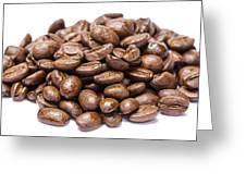 Pile Of Coffee Beans Isolated On White Greeting Card