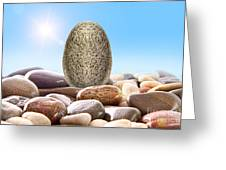 Pile Of River Rocks On White Greeting Card