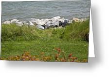 Pile Of Rocks On Shoreline Greeting Card