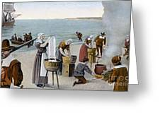 Pilgrims Washing Day, 1620 Greeting Card