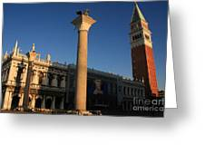 Pillars And Bell Tower At San Marco In Venice Greeting Card