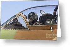 Pilot In The Cockpit Of A Skyhawk Fighter Jet  Greeting Card