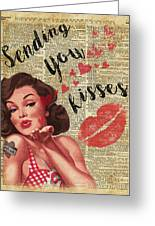 Pin-up Girl Sending Kisses Vinatage Book Page Collage Greeting Card