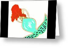 Pin Up Redhead Mermaid Greeting Card