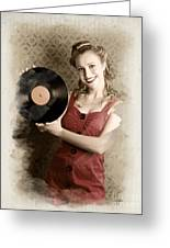 Pin-up Rockabilly Woman Holding Vinyl Record Lp Greeting Card