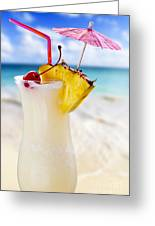 Pina Colada Cocktail On The Beach Greeting Card