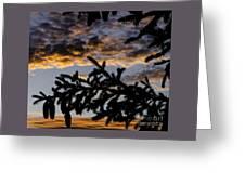 Pine Cone Sunset Greeting Card