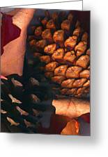 Pine Cones And Leaves Greeting Card