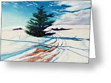Pine Tree Along The Country Road Greeting Card