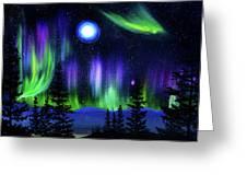 Pine Trees In Aurora Borealis Greeting Card