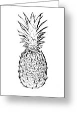 Pineapple Black And White Greeting Card
