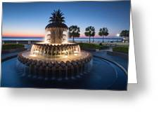 Pineapple Fountain Charleston Waterfront Park Greeting Card