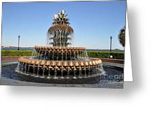 Pineapple Fountain In The Park Greeting Card