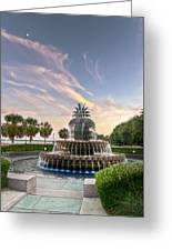Pineapple Fountain Sunset - Charleston Sc Greeting Card by Drew Castelhano