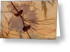 Pinecone Overlay Bright Horizontal Greeting Card