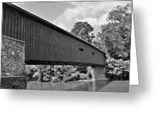 Pinetown Bushong's Covered Bridge Black And White Greeting Card