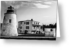 Piney Point Lighthouse - Mayland - Black And White Greeting Card