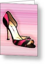 Pink And Black Stripe Shoe Greeting Card